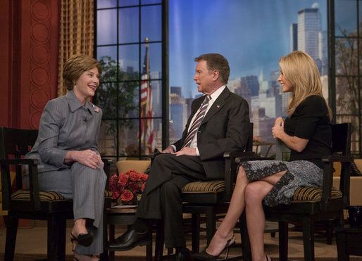 Laura Bush participates in an interview with Regis Philbin and Kelly Ripa during an appearance on the Live with Regis and Kelly show in New York, N.Y., Tuesday, Oct. 19, 2004. White House photo by Joyce Naltchayan