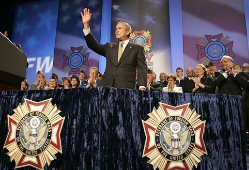 President George W. Bush speaks at the Veterans of Foreign Wars Convention in Cincinnati, Ohio. File photo. White House photo by Paul Morse.