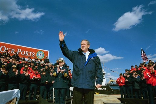 President George W. Bush delivers remarks on Homeland Security to the United States Coast Guard at the Port of Philadelphia Coast Guard Facility in Pennsylvania. March, 31, 2003. White House photo by Tina Hager