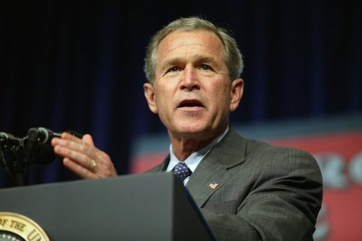 President George W. Bush delivers remarks about the USA Patriot Act to local military and emergency first responders in Hershey, Pa., April 19, 2004. White House photo by Paul Morse