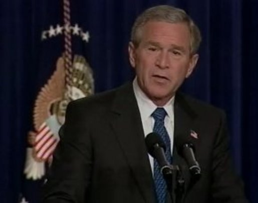 President Bush talked to reporters on Thursday morning. White House screen capture.