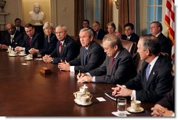 President George W. Bush meets with his Cabinet in the Cabinet Room of the White House Thursday, Nov. 4, 2004.  White House photo by Tina Hager