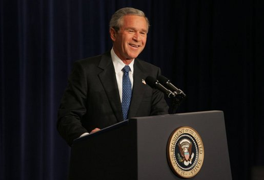 President George W. Bush holds a press conference in the Dwight D. Eisenhower Executive Office Building Thursday, Nov. 4, 2004. White House photo by Tina Hager.
