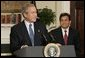 President George W. Bush announces his nomination of White House Counsel Alberto Gonzales to succeed John Ashcroft as the next U.S. Attorney General during a press conference in the Roosevelt Room Wednesday, Nov. 10, 2004.  White House photo by Paul Morse