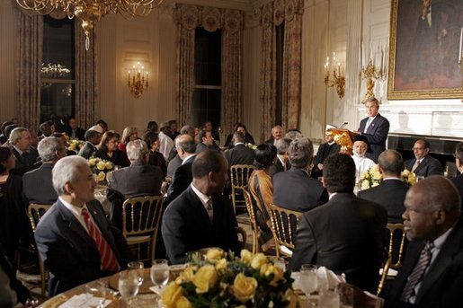 President George W. Bush welcomes American Muslim Leaders and Ambassadors from Islamic nations to the Iftaar Dinner in celebration of Ramadan in the State Dining Room Wednesday, Nov. 10, 2004. White House photo by Paul Morse