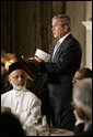 Hosting a dinner in celebration of the holy month of Ramadan, President George W. Bush welcomes American Muslim Leaders and Ambassadors from Islamic nations in the State Dining Room Wednesday, Nov. 10, 2004. White House photo by Paul Morse