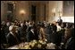 President George W. Bush addresses the Iftaar Dinner with Ambassadors and Muslim Leaders in the State Dining Room of the White House, Nov. 10, 2004. White House photo by Paul Morse