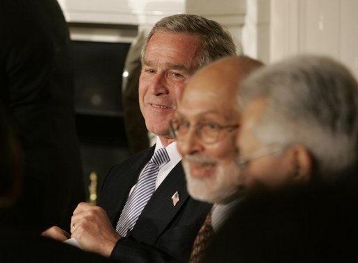 President George W. Bush attends the Iftaar Dinner with Ambassadors and Muslim Leaders in the State Dining Room of the White House, Nov. 10, 2004. White House photo by Paul Morse