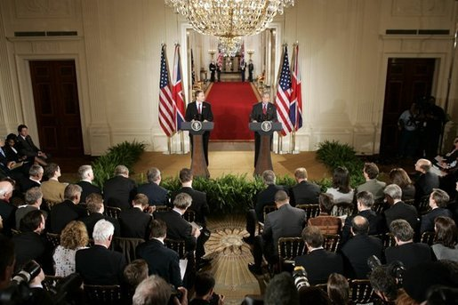 President George W. Bush and British Prime Minister Tony Blair during their press conference in the East Room of the White House on Friday November 12, 2004. White House photo by Paul Morse
