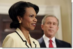 National Security Advisor Condoleezza Rice addresses the media during President George W. Bush's announcement to nominate Dr. Rice as Secretary of State in the Roosevelt Room Tuesday, Nov. 16, 2004.  White House photo by Paul Morse