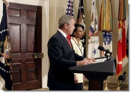 "President George W. Bush announces his nomination of National Security Advisor Dr. Condoleezza Rice as Secretary of State in the Roosevelt Room Tuesday, Nov. 16, 2004. ""She's a recognized expert in international affairs, a distinguished teacher and academic leader, and a public servant with years of White House experience,"" said the President.  White House photo by Paul Morse"
