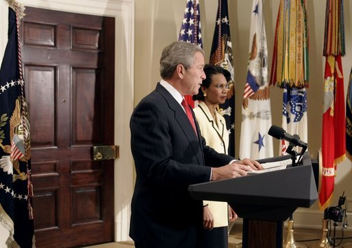 "President George W. Bush announces his nomination of National Security Advisor Dr. Condoleezza Rice as Secretary of State in the Roosevelt Room Tuesday, Nov. 16, 2004. ""She's a recognized expert in international affairs, a distinguished teacher and academic leader, and a public servant with years of White House experience,"" said the President. White House photo by Paul Morse."