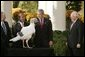 "President George W. Bush and Vice President Dick Cheney participate in the annual pardoning of the National Turkey in the Rose Garden Nov. 17, 2004. ""We are a nation founded by men and women who deeply felt their dependence on God and always gave Him thanks and praise. As we prepare for Thanksgiving in 2004, we have much to be thankful for: our families, our friends, our beautiful country, and the freedom granted to each one of us by the Almighty,"" said the President in his remarks. White House photo by Paul Morse."