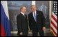 President George W. Bush participates in a bilateral meeting with Russian President Vladimir Putin while attending an APEC summit in Santiago, Chile, Nov. 20, 2004.White House photo by Eric Draper
