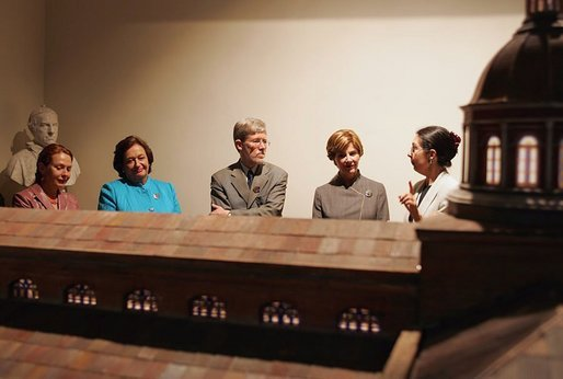 "Laura Bush tours ""Recoleta Dominica"" convent library and religious museum with leaders' spouses including, from left, Ms. Elaine Karp of Peru, Mrs. Luisa Duran de Lagos of Chile, and Mr. Peter Davis of New Zealand in Santiago, Chile, Nov. 20, 2004. Founded in 1753, the convent and monastery has served as a religious home, a school and now is being restored as a museum. White House photo by Susan Sterner."