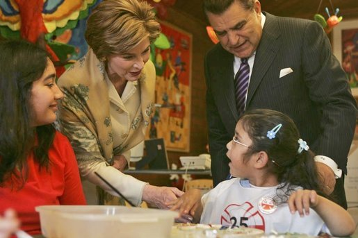 Laura Bush visits children at the Teleton Children's Rehabilitation Center with Chilean television host Mario Kreutzberger, known as Don Francisco, in Santiago, Chile, Nov. 21, 2004. White House photo by Susan Sterner