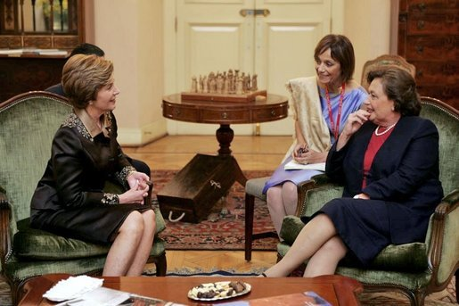 Laura Bush talks with Mrs. Luisa Duran de Lagos, wife of Chilean President Ricardo Lagos, at La Moneda Presidential Palace in Santiago, Chile, Nov. 21, 2004. White House photo by Susan Sterner