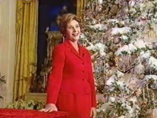Remarks by Mrs. Bush at the White House Holiday Press Preview. White House screen capture.White House screen capture