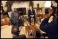 "President George W. Bush meets with Nigerian President Olusegun Obasanjo in the Oval Office Thursday, Dec. 02, 2004. ""I think it is vital that the continent of Africa be a place of freedom and democracy and prosperity and hope, where people can grow up and realize their dreams,"" President Bush said after the meeting. ""It's a continent that has got vast potential, and the United States wants to help the people of Africa realize that potential."" White House photo by Tina Hager."