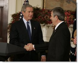 President George W. Bush greets Nebraska Governor Mike Johanns after nominating him for Secretary of Agriculture in the Roosevelt Room of the White House, Dec. 2, 2004.  White House photo by Paul Morse