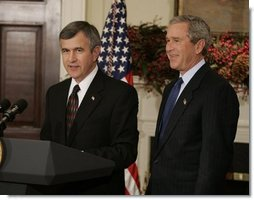 President George W. Bush listens to Nebraska Governor Mike Johanns after nominating him for Secretary of Agriculture in the Roosevelt Room of the White House, Dec. 2, 2004.  White House photo by Paul Morse