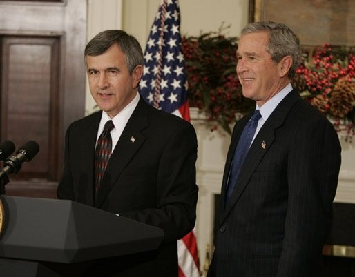 President George W. Bush listens to Nebraska Governor Mike Johanns after nominating him for Secretary of Agriculture in the Roosevelt Room of the White House, Dec. 2, 2004. White House photo by Paul Morse.