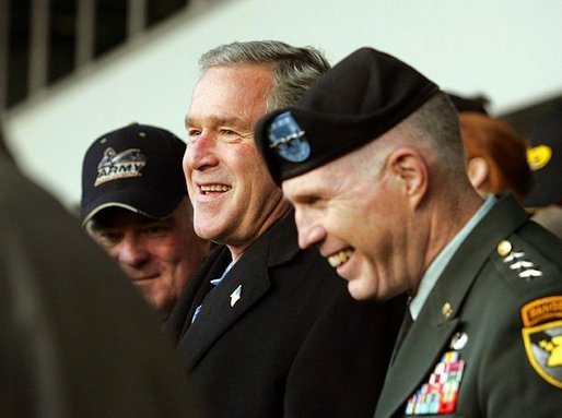 President George W. Bush attends the 105th annual Army/Navy football game in Philadelphia, Pa., Dec. 4, 2004. White House photo by Tina Hager