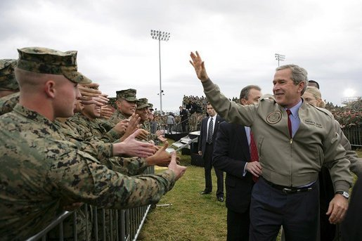President George W. Bush greets military personnel and their families after delivering remarks at Marine Corps Base Camp Pendleton, Calif., Tuesday, Dec. 7, 2004.White House photo by Eric Draper