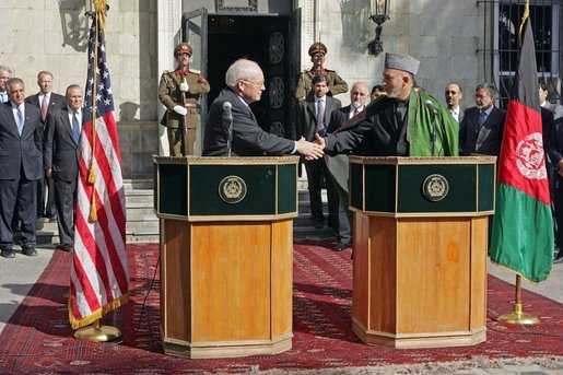 Vice President Dick Cheney and Afghanistan President Hamid Karzai shake hands during a press availability at the Presidential Palace in Kabul, Afghanistan, Dec. 7, 2004. White House photo by David Bohrer