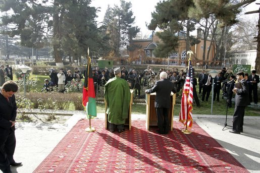 Vice President Dick Cheney and Afghanistan President Hamid
