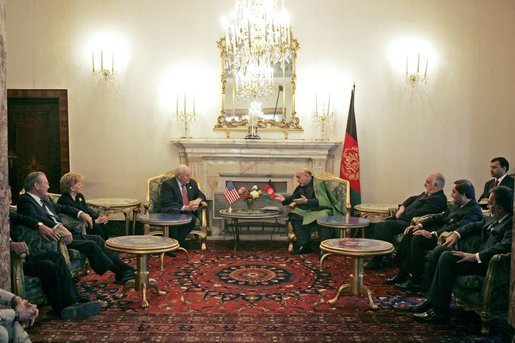 Vice President Dick Cheney participates in a bilateral meeting with Afghanistan President Hamid Karzai at the Presidential Palace in Kabul, Afghanistan, Tuesday, Dec. 7. 2004. President Karzai is Afghanistan's first democratically-elected president. White House photo by David Bohrer
