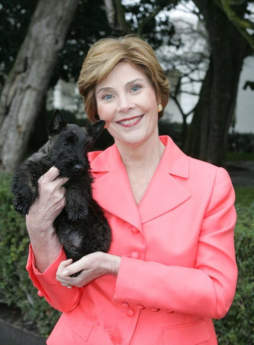 Laura Bush holds Miss Beazley shortly after the arrival of the 10-week-old Scottish terrier to the White House Thursday, Jan. 6, 2005. White House photo by Susan Sterner