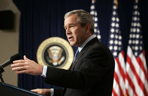 President George W. Bush answers questions during a press conference in room 450 of the Eisenhower Executive Office Building on December 20, 2004. White House photo by Paul Morse.