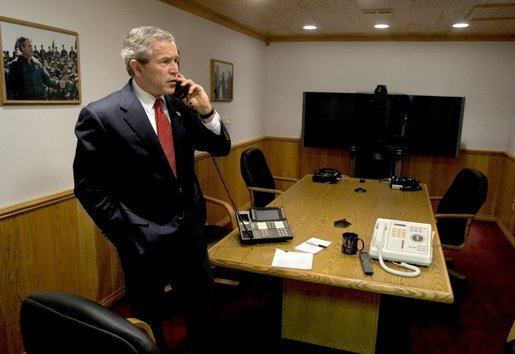 President George W. Bush speaks with Sri Lankan President Chandrika Kumaratunga during a phone call in Crawford, Texas, Wednesday, Dec. 29, 2004. White House photo by Eric Draper.