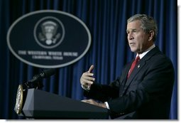 President George W. Bush speaks to the media in Crawford, Texas during a statement on the recent earthquake and Tsunami disasters, Wednesday, Dec. 29, 2004.  White House photo by Eric Draper