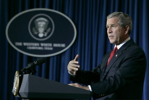 President George W. Bush speaks to the media in Crawford, Texas during a statement on the recent earthquake and Tsunami disasters, Wednesday, Dec. 29, 2004. White House photo by Eric Draper.