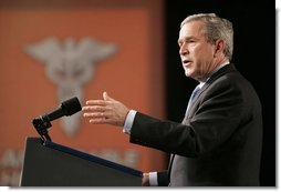 "President George W. Bush discusses aspects of medical liability reform during a visit to Collinsville, Ill., Wednesday, Jan. 5, 2005. ""America's health care professionals should be focused on fighting illnesses, not on fighting lawsuits,"" said the President. ""Junk lawsuits change the way docs do their job. Instead of trying to heal the patients, doctors try not to get sued.""  White House photo by Paul Morse"