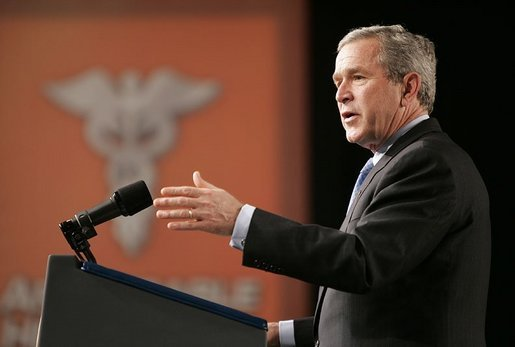 "President George W. Bush discusses aspects of medical liability reform during a visit to Collinsville, Ill., Wednesday, Jan. 5, 2005. ""America's health care professionals should be focused on fighting illnesses, not on fighting lawsuits,"" said the President. ""Junk lawsuits change the way docs do their job. Instead of trying to heal the patients, doctors try not to get sued."" White House photo by Paul Morse."