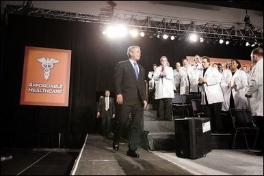 President George W. Bush visits Collinsville, Ill., to discuss aspects of medical liability reform Wednesday, Jan. 5, 2005. White House photo by Paul Morse.