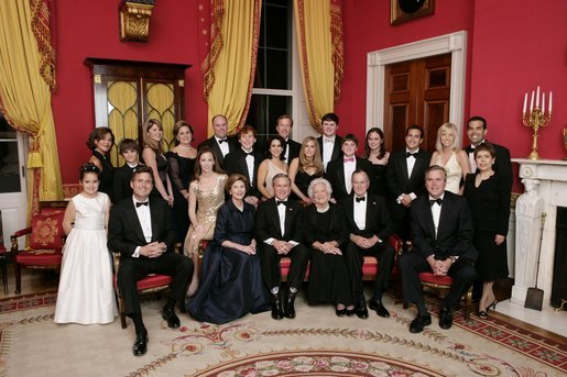 "President George W. Bush, Laura Bush, former First Lady Barbara Bush, and former President George H.W. Bush sit surrounded by family in the Red Room, Thursday, Jan. 6, 2005. Friends and family joined former President Bush and Mrs. Bush in celebrating their 60th wedding anniversary during a dinner held at the White House. Also pictured are, from left, Georgia Grace Koch, Margaret Bush, Walker Bush, Marvin Bush, Jenna Bush, Doro Koch, Barbara Bush, Robert P. Koch, Pierce M. Bush, Maria Bush, Neil Bush, Ashley Bush, Sam LeBlond, Robert Koch, Nancy Ellis LeBlond, John Ellis Bush, Jr., Florida Gov. John Ellis ""Jeb"" Bush, Mandi Bush, George P. Bush, and Columba Bush. White House photo by Eric Draper."