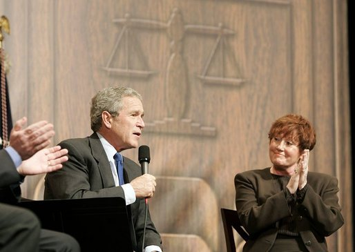 "President George W. Bush discusses asbestos litigation in Clinton Township, Mich., Friday, Jan. 7, 2005. ""We need to speed up the process for delivering justice to deserving victims,"" said the President. ""So as Congress considers what ought to be done, they need to keep in mind those who have been truly harmed by asbestos."" White House photo by Paul Morse"