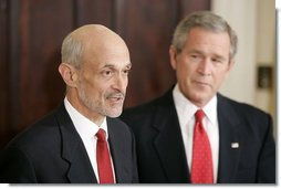 President George W. Bush presents Judge Michael Chertoff as his nominee to be the Secretary of Homeland Security in the Roosevelt Room Tuesday, Jan. 11, 2005.  White House photo by Paul Morse