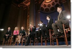 President George W. Bush participates in a discussion on Social Security reform at the Andrew W. Mellon Auditorium in Washington, D.C., Tuesday, Jan. 11, 2005. Also pictured, from left, are Sonya Stone, Rhode Stone, Bob McFadden and Scott Ballard.  White House photo by Paul Morse