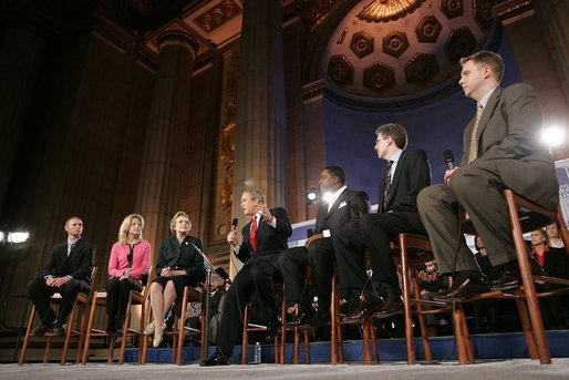President George W. Bush participates in a discussion on Social Security reform at the Andrew W. Mellon Auditorium in Washington, D.C., Tuesday, Jan. 11, 2005. Also pictured, from left, are Sonya Stone, Rhode Stone, Bob McFadden and Scott Ballard. White House photo by Paul Morse.