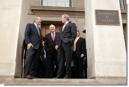 President George W. Bush talks with Secretary of Defense Donald Rumsfeld, left, and Vice President Dick Cheney after attending a meeting at the Pentagon in Arlington, Va., Thursday, Jan. 13, 2005.  White House photo by Paul Morse