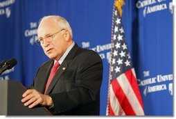 "Vice President Dick Cheney discusses Social Security at the Catholic University of America in Washington, D.C., Thursday, Jan. 13, 2005. ""The President knows that the longer we wait to address the coming crisis, the more excuses that are made for inaction, the more difficult and expensive the job will be down the line,"" said the Vice President. ""So in this new term, under his leadership, we will save Social Security, and put it on a path to permanent solvency and stability.""  White House photo by Susan Sterner"