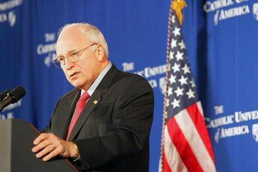 "Vice President Dick Cheney discusses Social Security at the Catholic University of America in Washington, D.C., Thursday, Jan. 13, 2005. ""The President knows that the longer we wait to address the coming crisis, the more excuses that are made for inaction, the more difficult and expensive the job will be down the line,"" said the Vice President. ""So in this new term, under his leadership, we will save Social Security, and put it on a path to permanent solvency and stability."" White House photo by Susan Sterner."