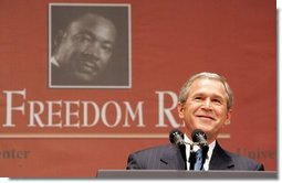 "President George W. Bush gives remarks at Georgetown University's ""Let Freedom Ring"" celebration honoring Dr. Martin Luther King, Jr. at the Kennedy Center for the Performing Arts on Monday, January 17, 2005.  White House photo by Paul Morse"