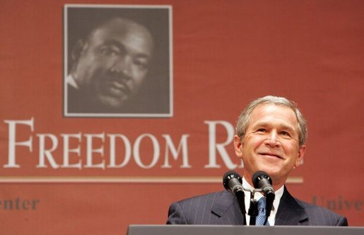 "President George W. Bush gives remarks at Georgetown University's ""Let Freedom Ring"" celebration honoring Dr. Martin Luther King, Jr. at the Kennedy Center for the Performing Arts on Monday, January 17, 2005. White House photo by Paul Morse."