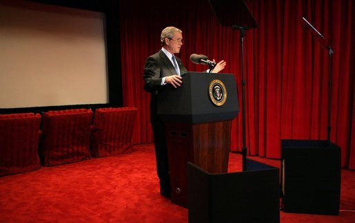 President George W. Bush prepares for his Inaugural Address in the Family Theater of the White House Tuesday, Jan. 18, 2005. White House photo by Eric Draper